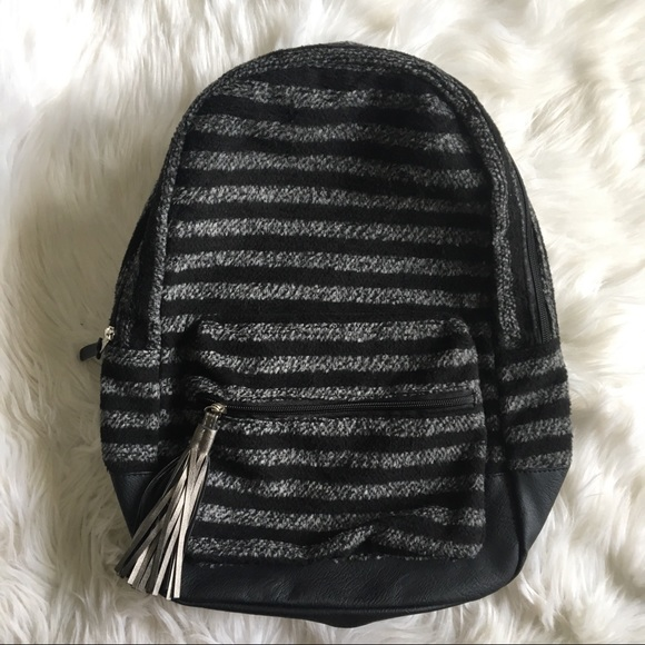MADDEN GIRL Black and Grey Striped Backpack 4e720784f0b9c